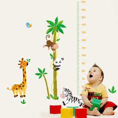 Animals Wall Stickers Kid's Bedroom Height Ruler Mural Decals Home Decor Art Wall Stickers, Decals, Height Ruler, Art For Sale Online, Kids Bedroom, Bedroom Wall, Tinkerbell, Panda, Wall Decor