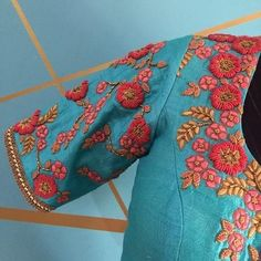 Architha Narayanam beautiful tulle embellished sarees for all your wedding dramas! Stunning ice blue color net saree and pin color designer blouse with floret lata design hand embroidery thread work. Blouse Designs High Neck, Hand Work Blouse Design, Blouse Designs Silk, Blouse Patterns, Embroidery Neck Designs, Hand Work Embroidery, Simple Embroidery, Learn Embroidery, Embroidery Patterns