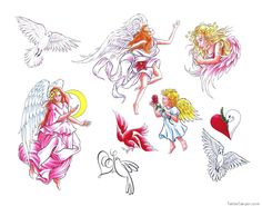 Angels White Bird Fairies Heart Tatoos picture 6953