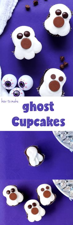 If you like Halloween & Cupcakes then these ghost cupcakes are just what you need to make your ghouls and goblins happy. Simple to make with a how to video. Halloween Goodies, Halloween Ghosts, Holidays Halloween, Halloween Treats, Ghost Cupcakes, Cute Cupcakes, How To Make Ghosts, How To Make Cake, Cupcake Decorating Tips