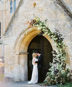 A vine-link and asymmetrical wedding arch for a Church entrance to wedding Ceremony Wedding Ceremony Ideas, Cheap Wedding Venues, Church Ceremony, Ceremony Arch, Wedding Photos, Wedding Church, Arch Wedding, Wedding Entrance, Deco Floral