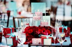 Tiffany blue and red WEDDING centerpiece.