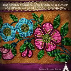 Happiness radiates like beads of a flower and draws all good things towards you. Beaded masterpiece from the Norman Wells Historical Society. Historical Society, Beads, Sewing, Drawings, Beadwork, Norman, Creative, Flowers, Happiness
