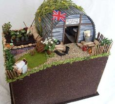 My Spring Fling 2009 entry is a WWII English Anderson (bomb) shelter in a suburban garden with a British Resistance Operational Base hidden underneath. School Projects, Projects For Kids, History Projects, School Ideas, World War 2 Display, Anderson Shelter, Bomb Shelter, Victory Garden, Air Raid