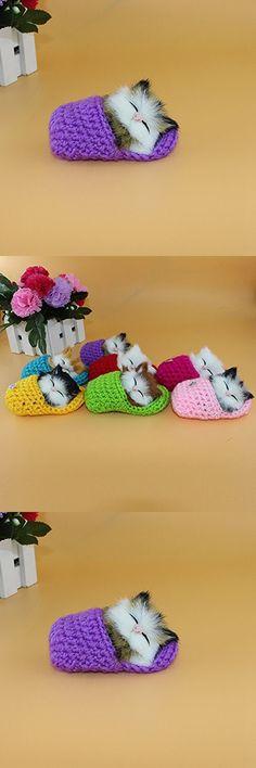 Lanlan 1PCS Purple Cute Simulation Pet Cat Toys Plush Doll Sleeping Cat Can Sound Miaow Slipper Cat New Year Christmas Birthday Gifts