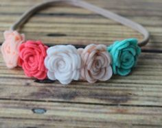 Felt flower headband nylon headband One by muffintopsandtutus