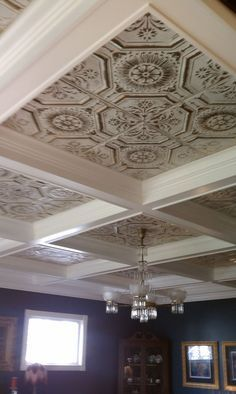 Tin ceiling tile whitewashed silver inside a box beam ceiling Tin Tiles, Tin Ceiling Tiles, Ceiling Decor, Ceiling Ideas, Tin Ceiling Kitchen, Kitchen Ceilings, Bedroom Ceiling, Wall Tiles, Plafond Design