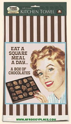 """Eat A Square Meal A Day... A Box of Chocolate.    Kitchen Towel Silk-screened on 100% cotton.    Ephemera    Size: 18.5"""" x 32""""    Hand Made and Printed in the USA, by Fiddlers Elbow.    Family Owned since 1973    Free shipping applies to US orders only."""
