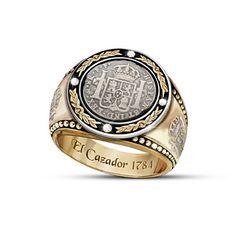 Men's Diamond Ring With El Cazador Shipwreck Coin Silver