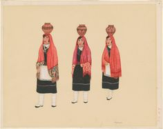 """Fred Kabotie, """"Hopi Women Carrying Water Vessels,"""" c. gouache with brush and black ink over graphite on wove paper Native American Heritage Month, National Gallery Of Art, Art Object, American Indians, Gouache, Carry On, Objects, History, Graphite"""