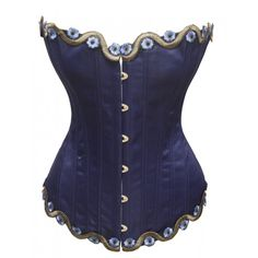 Blue Corset with Flower Embroidery Trim