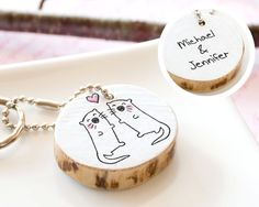 Otter PERSONALIZED Couple Keychain Round Wooden Keyring Cute Animal Drawing Love Heart ECO FRIENDLY Handmade Custom Gift Her Reclaim Wood. $25.00, via Etsy.