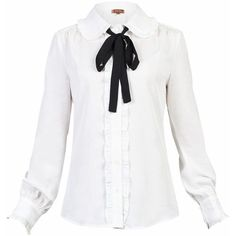 Jolie Moi Trimmed Bow Tie Blouse ($40) ❤ liked on Polyvore featuring tops, blouses, sale women tops, ruffle collar shirt, white collared blouse, long white shirt, ruffle blouse and ruffle collar blouse