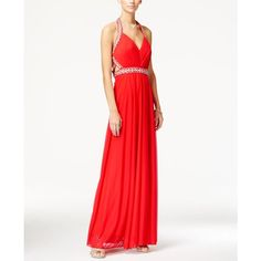 Sequin Hearts Juniors' Jeweled Ruched Halter Gown ($129) ❤ liked on Polyvore featuring dresses, gowns, watermelon, white cocktail dresses, halter evening dress, prom dresses, halter evening gowns and white prom gown