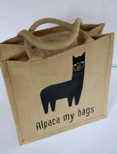 Custom made large jute tote with adorable alpaca print.