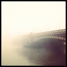 Vauxhall Bridge on a foggy London morning