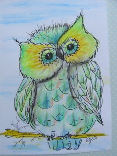 Original watercolour painting of cute little owl in by kunstpause