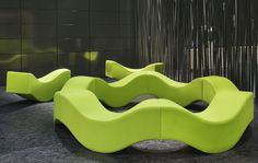 Abstract green wavy sofa / couch - now this is GREAT functional art / furniture design at it's finest - Groovy!
