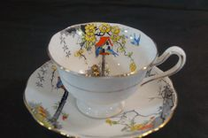Nice porcelain hand colored tea cup and saucer in the Dove cot pattern by Royal Albert. Marked on the bottom Dovecot Royal Albert Crown China England in black. This mark was used between 1927 and 1935. | eBay!