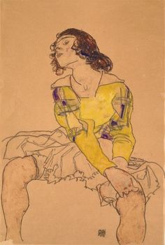 Woman with Yellow Blouse by Egon Schiele.