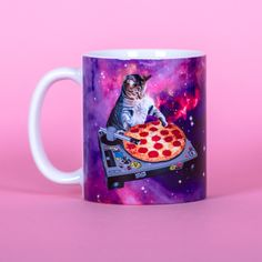 Dj Cat Pizza Space Funny Mug Gifts for Him Meme Mug Unique Mug Office... (€13) ❤ liked on Polyvore featuring home, kitchen & dining and drinkware