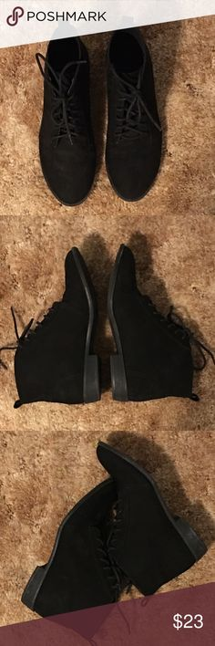Black Suede Leather Ankle Boots! Black Suede Leather Ankle Boots! In Excellent Condition! Worn Once. Size7. Shoes Lace Up Boots