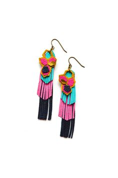 for some color...geometric leather earrings