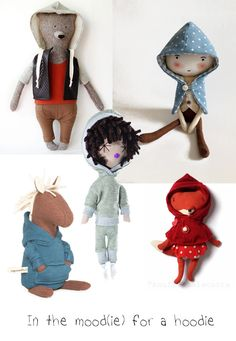 Plush dolls and toys with a hoodie