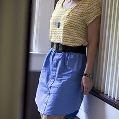 It's easy to upcycle a man's button down into a cute skirt. Even I was able to do it!