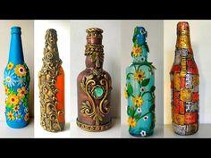 Glass Bottle Crafts, Diy Bottle, Bottle Art, Glass Bottles, Altered Bottles, Mandala Painting, Handicraft, Flower Pots, Cool Designs