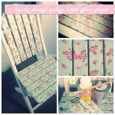 I'm totally doing this to my old bench in the back garden! Make an Adorable Upcycled Decoupage Chair - Guidecentral Diy Mod Podge, Mod Podge Crafts, Diy Crafts, Mod Podge Ideas, Modge Podge Projects, Crate Crafts, Geek Crafts, Decor Crafts, Upcycled Furniture