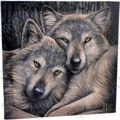 "Lisa Parker Loyal Companions Plaque Wolf 11"" x 11"""