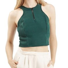 TOPSHOP green ribbed crop top NWT The perfect sporty crop from TOPSHOP! Dress it up or down for the perfect look. 85% polyester, 15% elastane. Machine washable. Photos from website Topshop Tops Crop Tops