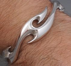 31G Artisan Tattoo Tribal Blades 925 Sterling Silver Mens Bracelet Bangle Cuff | eBay