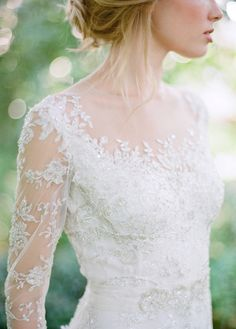 - Repinned by Prindler Productions - lace, wedding, dress, bride, sleeves