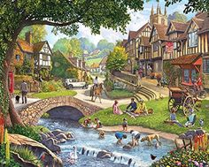 In the 1000 piece jigsaw puzzle, Summer Village by White Mountain, a beautiful summer village full of people is depicted. This puzzle is a great one to add to the collection! New Puzzle, Puzzle Art, Puzzle 1000, Puzzle Toys, 5d Diamond Painting, Cool Eyes, 1000 Piece Jigsaw Puzzles, Summertime, Landscape