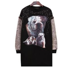 Black Rock long sweatshirt three dogs print for girls