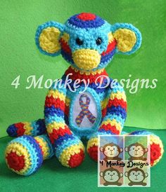 Crochet Autism Awareness Monkey by 4monkeydesigns on Etsy, $30.00.......love this!!!!!!