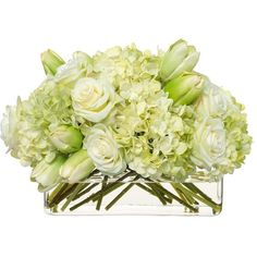 Diane James Cream/Green Hydrangea & Tulip Bouquet in Glass Rectangle ($795) ❤ liked on Polyvore featuring home, home decor, floral decor, silk flower bouquets, faux flowers, hydrangea fake flowers, green artificial flowers and hydrangea silk flower arrangement