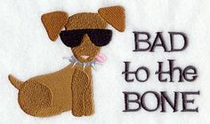 Bad to the Bone Chihuahua Embroidered Flour by CreatureCreations4u, $14.99