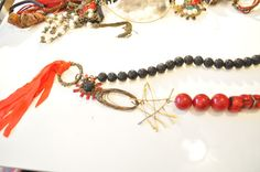 uniqe boho style necklace, red and black, coral and lava stone.