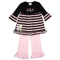 Girls Black Light Pink Stripe Cotton Pant Set – Lolly Wolly Doodle