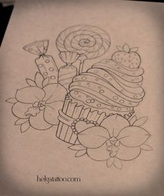 lollipop flower candy cupcake - as a tattoo (but maybe with other flowers)