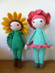 Sunflower Sam and Poppy Paola made by Renate S - crochet patterns by Zabbez