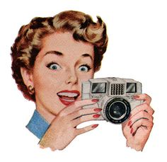 woman with camera advertising illustration. Vintage Advertisements, Vintage Ads, Vintage Prints, Vintage Posters, Arte Pop, Retro Images, Vintage Images, Camera Illustration, Girls With Cameras
