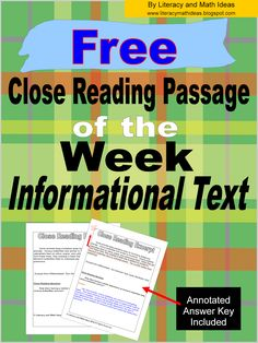 {Free Close Reading Passage of the Week} This week includes informational text. An annotated answer key is also included. Follow the link to access this freebie.