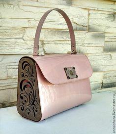 """Купить Сумка из кожи и дерева """"Pearl"""" -L - кремовый, однотонный, сумка анка"""