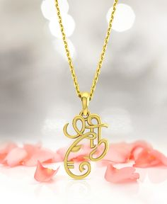 Keep faith and belief close with this gold Shree Ganesha pendant. Gold Pendent, Om Pendant, Diamond Pendant, Pendant Jewelry, Diamond Rings, Pendant Necklace, Gold Jewellery, Jewlery, Kids Fashion