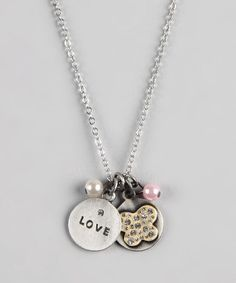 Take a look at this 'Love' & Butterfly Charm Necklace on zulily today!