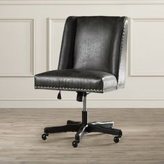 Bring traditionally elegant style to your office or writing nook with the Brennan High-back Office Chair. Handsome accents like compact wings, nail head trim, and faux leather upholstery lend classic flair to utilitarian offices seeking elevated style. A classic wood pedestal base with caster wheels offers easy movement.